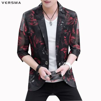 VERSMA New Red Flower Print Half Sleeve Bomber Jacket Coat Mens See Throug Transparent Biker Jackets Coats Men Free 3XL