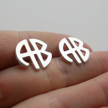 Monogram Block Earrings,Stud Monogram Earrings Sterling Silver,Monogram Stud Earrings,2 Initials Earrings,Monogram Post Earrings