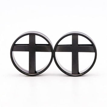 Cross Black Andodized Steel Tunnels Plugs (6mm-25mm)