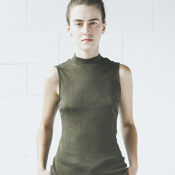 Objects Without Meaning - Mock Neck Tee in Olive