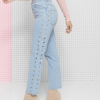 HOLED UP GROMMET DENIM JEANS