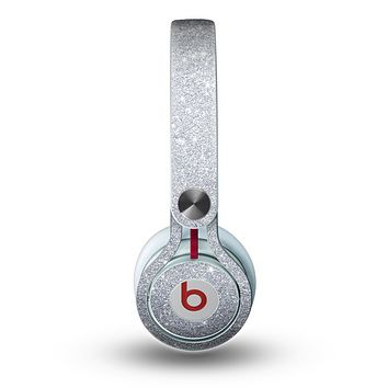 The Silver Sparkly Glitter Ultra Metallic Skin for the Beats by Dre Mixr Headphones