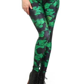 "Women's ""Shamrock"" Leggings Poprageous (Black/Green)"