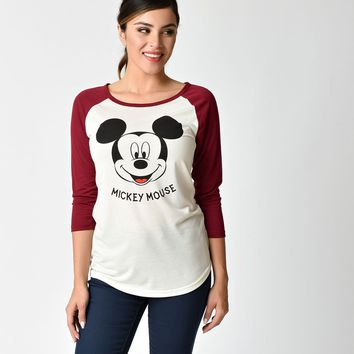Burgundy & Ivory Mickey Mouse Baseball Tee
