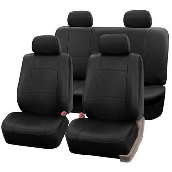 FH Group Black PU Leather Universal Full Set Solid Bench Seat Covers | Overstock.com Shopping - The Best Deals on Car Seat Covers