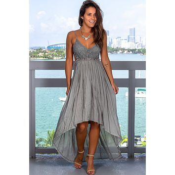 Sage High Low Dress with Frayed Hem