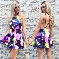Women's Summer Color Print Sleeveless Backless Mini Dress