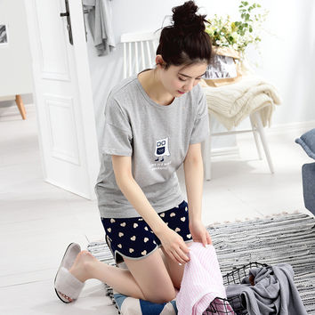 Summer Short-sleeve 100% Cotton Cartoon Female Sleep Set Summer Thin Women's Loose Lounge