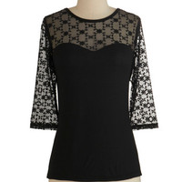 ModCloth Luxe Mid-length 3 Lovable at First Sight Top in Black