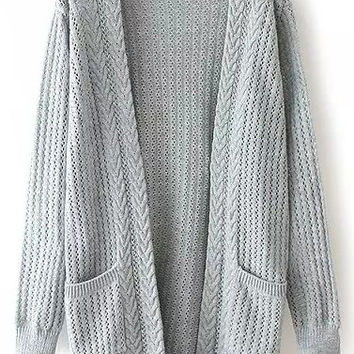 Grey Knit Pockets Long Sleeve Cardigan