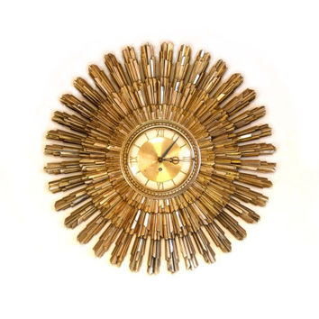 Gold Sunburst Clock Wind Up Wall Clock Crestyle Hollywood Regency Mid Century Modern