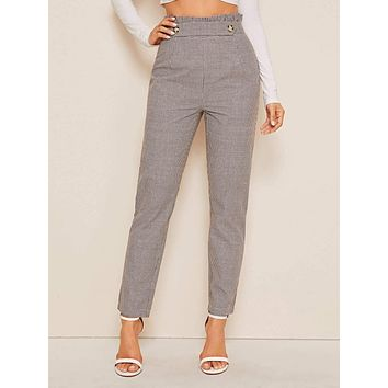 Button Front Plaid Paperbag Waist Tailored Pants