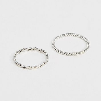 Kingsley Ryan Rope Band Ring & Twisted Rope Midi Ring Pack at asos.com