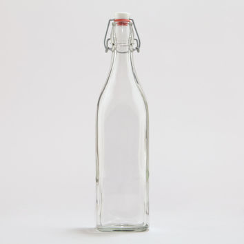Square Glass Bottle with Clamp Stopper - World Market