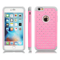 "iPhone 6 & 6S Case, Laxier(TM) Dual Layer Protection Cover With Bling Rhinestone Protective Hard Bumper Case For Apple iPhone6 / 6S 4.7 inches (4.7"")(Pink)"