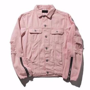 Pastel Pink Denim Jacket With Zip Up Sleeves