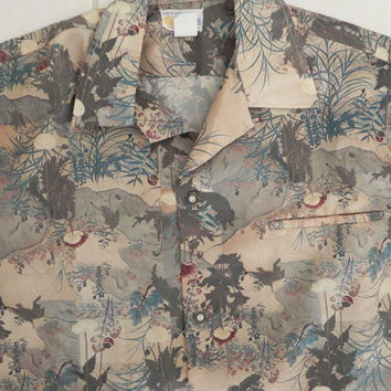 Vintage ANDRADE Honolulu Tropical Hawaiian Camp Shirt Size Large