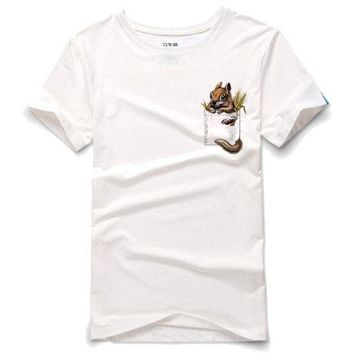 Peek a Boo Squirrel in Your Pocket Graphic Tee T-Shirt in White | DOTOLY