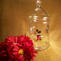 Canister, Jar, Container, Glass, Mickey Mouse, Disney, Disneyana, Kitchenware, Cookie Jar, Storage, Domed Lid, Clear Glass, TKSPRINGTHINGS