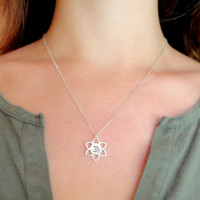 Om Lotus Sterling Silver Charm on Sterling Silver Necklace