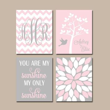 PINK GRAY Nursery Wall Art, CANVAS or Prints, Personalized Name Monogram, My Sunshine Quote, Tree Bird Flowers, Set of 4, Above Crib Decor