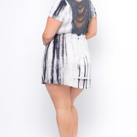 Plus Size Crochet Back Dress - Grey