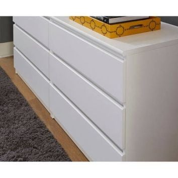 Tvilum Laguna 6 Drawer Double Dresser, White Wood Grain - Walmart.com