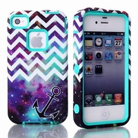 MagicSky Plastic + TPU Chevron with Anchor on Galaxy Pattern Tuff Dual Layer Hybrid Armor Case for Apple iPhone 4 4S 4G - 1 Pack - Retail Packaging - Cyan