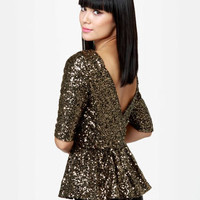 Dressy Sequin Top - Gold Top - Peplum Top - Backless Top - $56.00