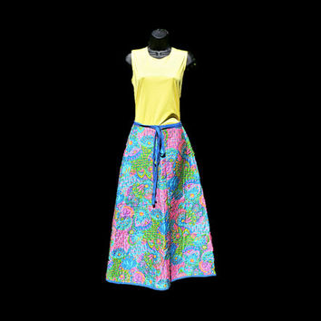 Vintage 1970's Quilted Wrap Skirt - Maxi Length - Flower Power Floral, Paisley - Aqua, Lime, Pink - Hippie / Boho Chic - Cute & Retro!