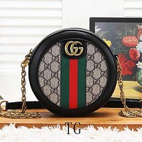 GUCCI New Women Fashion Stripe More Letter Leather Chain Shoulder Bag Crossbody Satchel Black