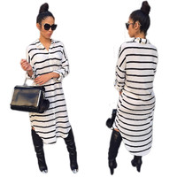 White and Black Stripped Long Blouse