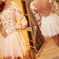 White Lace Long Sleeves  Backless Homecoming Dress,Short Prom Dress