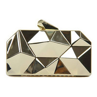 Golden Geometrical Metallic Clutch Bag