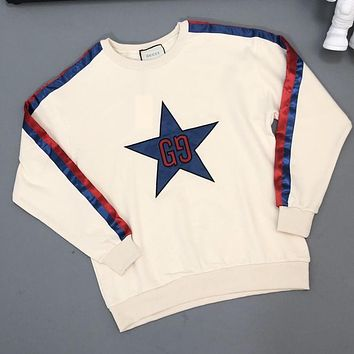 GUCCI Fashion Women Men Casual Embroidery Long Sleeve Cute Sweater Sweatshirt