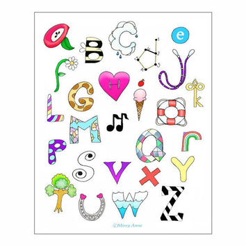Alphabet poster kids wall art nursery art by wonderlaneart on Etsy