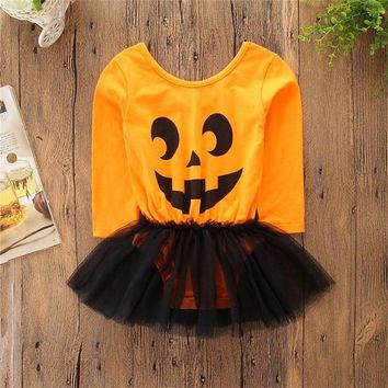 2018 Autumn Winter Girls Clothes Halloween Pumpkin Print Dress Fashion Casual Lace Dress Children's Clothes baby girl clothes