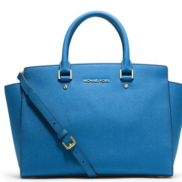 NWT! MICHAEL KORS Selma LARGE Satchel Leather Bag Purse Heritage Blue $358