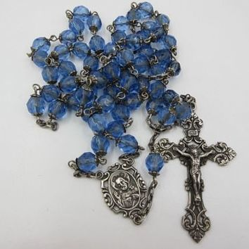 Antique Sterling Silver Religious Catholic Faceted Glass Beads Rosary