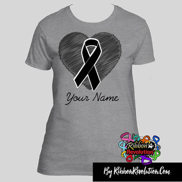 Brain Cancer Sketchy Heart Ribbon Shirts (Also for Asthma, Brain Tumor, Diabetes and Parkinson's Disease Awareness)