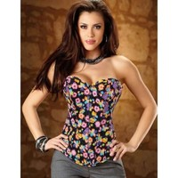 New Women Fashion Floral Tops Body Shaper Bustier Corset Lingerie Sexy G-string