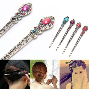 1 pcs Stylish Female Retro Hairpins Hair Clip Crystal Butterfly Flower Combs Hair Stick Hairpins Hair Clip 3 Colors