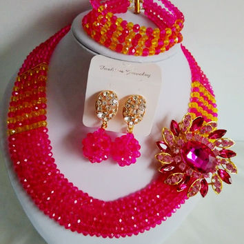 Gorgeous Fuchsia Pink Yellow Crystal Beads Traditional African Wedding African Beads Jewelry Set ABF949