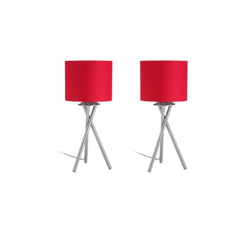 """Euro Style Collection Lisboa Mini 15"""" Table Lamps (Set of 2)-Red"""