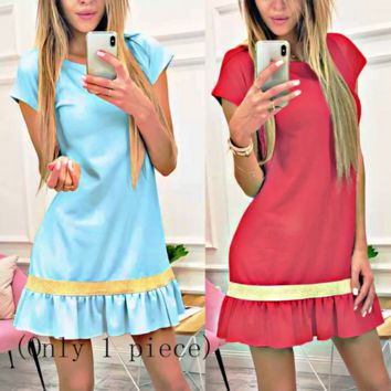 Best selling independent stand new women's wooden ear stitching short-sleeved slim skirt dress Only 1 piece