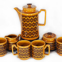 Vintage 60's Carmel & Brown Tea/Coffee Matching Set of 4 Mugcups Pot Cream Sugar Bowls w/ Metal Candle Heater