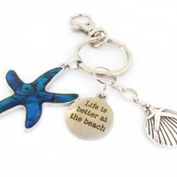 Starfish Keychain, Beach Keychain, Car Accessory, Shell Keychain, Purse Charm, Nautical Keychain, Quote Keychain