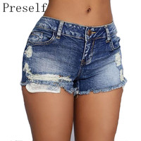 Preself Vintage Jeans Shorts Denim Shorts Women Ripped Hole Fringe Blue Casual Pocket Summer Girl Hot Shorts