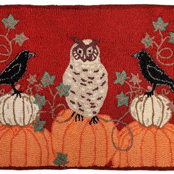 Bird In Pumpkins Patch Hooked Wool Rug 2'L × 3'W