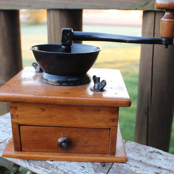 Antique wooden coffee grinder w/ cast iron crank, spice grinder, vintage french kitchen decor, vintage wooden coffee mill, coffee shop decor